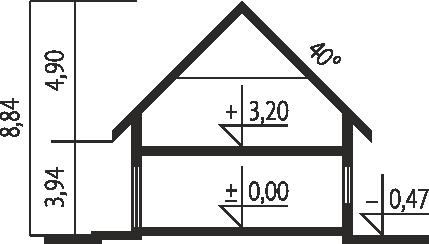 Plan vertical casa cu 3 dormitoare si garaj
