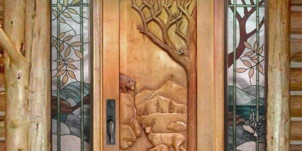 Usa de intrare cu decoratiuni rustice