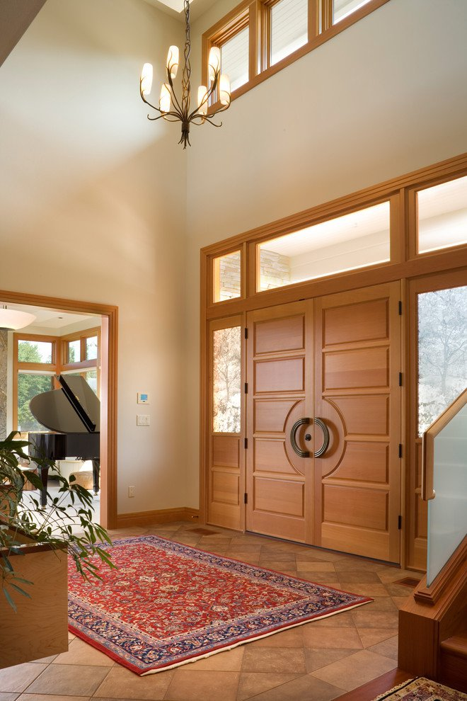 Usa de intrare dubla de lemn stratificat