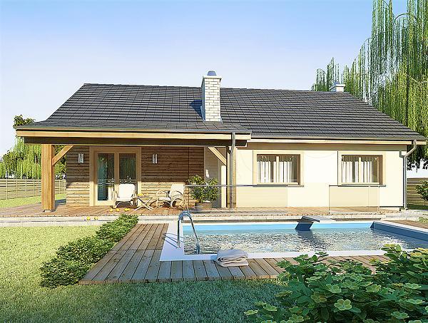 Casa cu fatada placata partial cu lemn