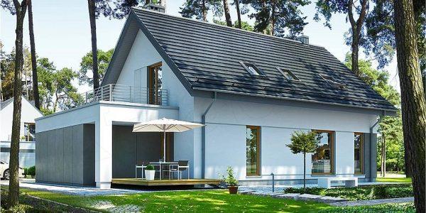 Model de casa cu terasa la etaj deasupra garajului