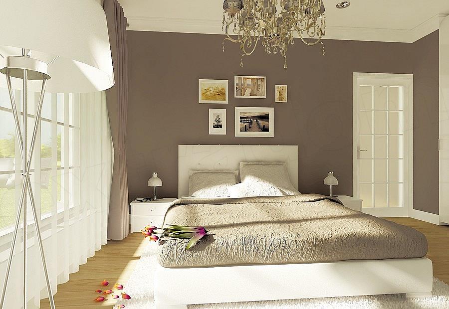 Dormitor cu pat alb pe mijloc
