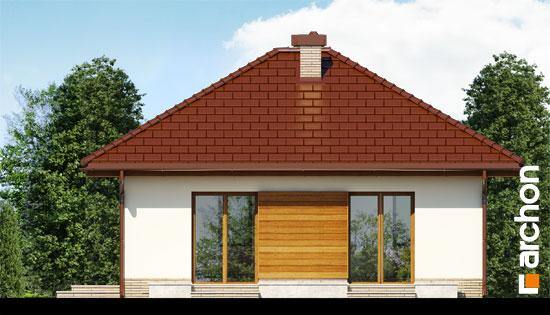 Elevatie casa alba cu elemente din lemn