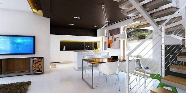 Open space casa cu decor modern