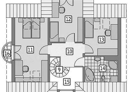 Plan mansarda cu 3 dormitoare si o baie