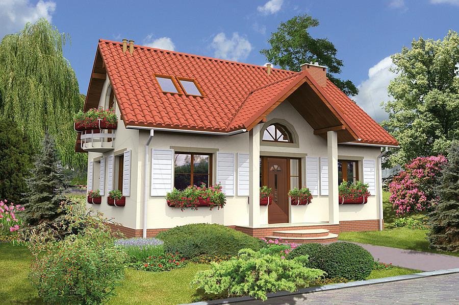 Casa cu intrare acoperita