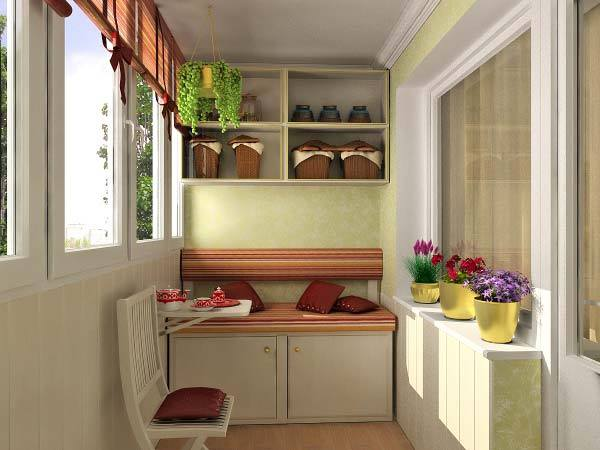 Balcon cu mobilier simplu