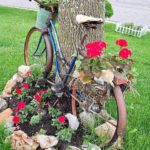 Bordura pietre rond cu flori