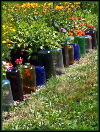 Bordura sticle pentru strat de flori