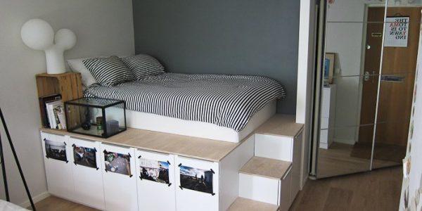 Dormitor elegant cu platforma inaltata