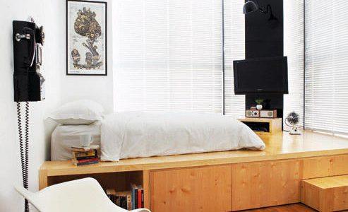Dormitor modern cu platforma inaltata
