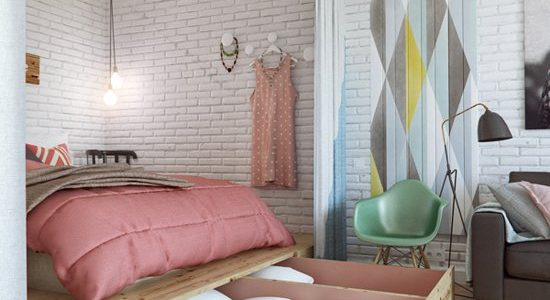 Dormitor vintage cu pat pe platforma inaltata