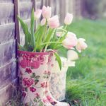 Ghivechi flori din cizme de cauciuc