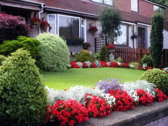 Gradina din fata casei cu grazon si flori multicolore