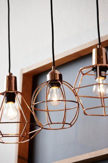 Lampi din cupru cu forme geometrice