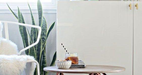 Masa de cafea din cupru cu forma geometrica