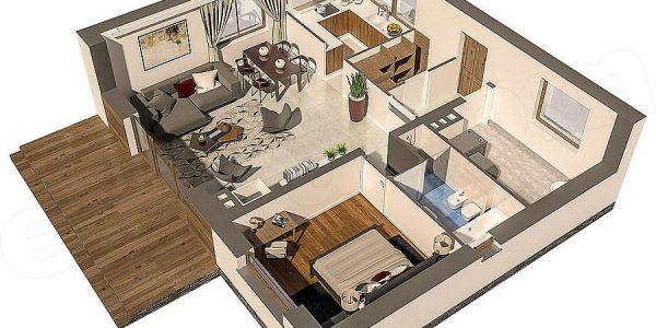 Plan camere casa parter cu un dormitor si living