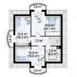 Plan etaj casa eleganta cu 4 dormitoare