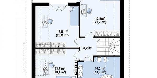 Plan mansarda casa cu 4 dormitoare si 2 bai