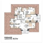 Plan mansarda casa cu 4 dormitoare si garaj dublu