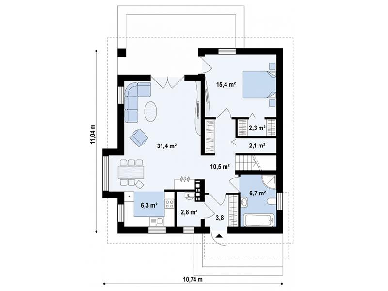Plan parter casa cu 4 dormitoare si 2 bai