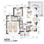 Plan parter casa cu 4 dormitoare si garaj dublu