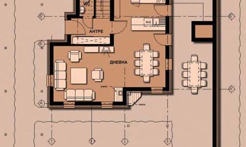 Plan parter casa cu arhitectura rurala