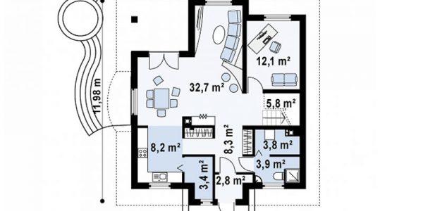 Plan parter casa eleganta cu 4 dormitoare