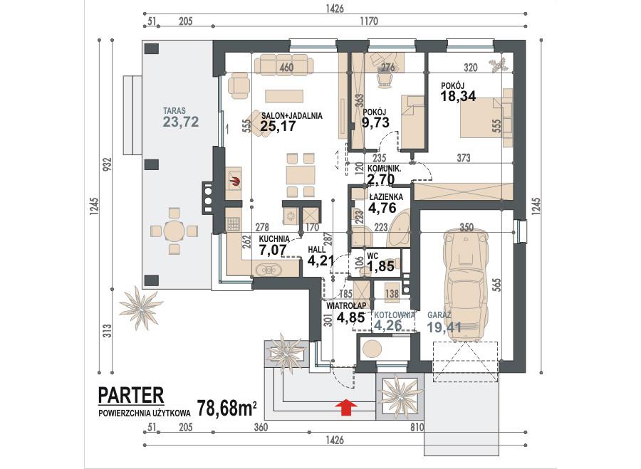 Plan parter casa mica cu 2 dormitoare si garaj for Proiect casa 2 camere living baie si bucatarie