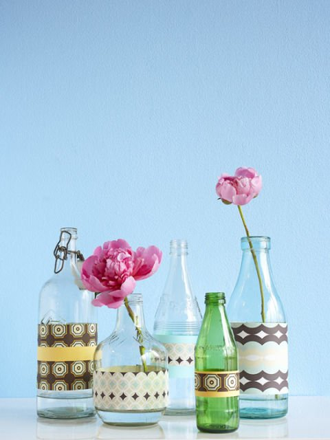 Sticle decorate cu banda adeziva decorativa
