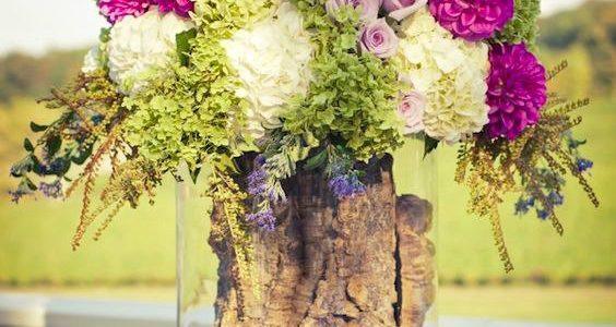 Vaza din trunchi de copac in vas de sticla