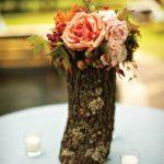 Vaze de flori decorativa din trunchi de copac