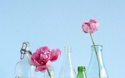 Vaze din sticle decorate cu banda adevziva