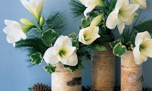 Vaze flori albe din trunchiuri de copaci