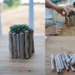 Vaze decorate cu betisoare de lemn
