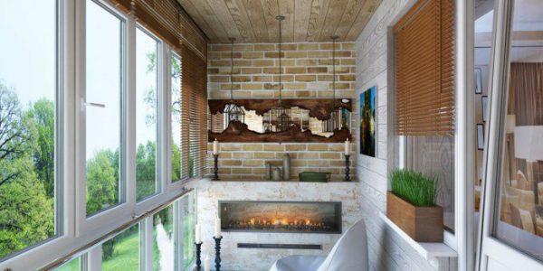 balcon cu geamuri si semineu