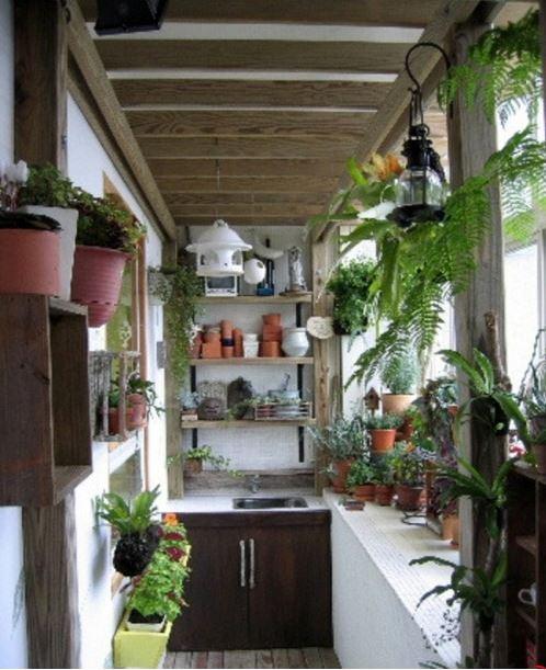Balcon cu multe plante