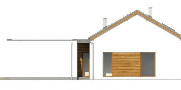 Elevatie laterala garaj si casa parter cu 3 dormitoare
