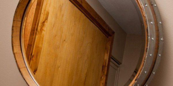 Oglinda din butoi din lemn