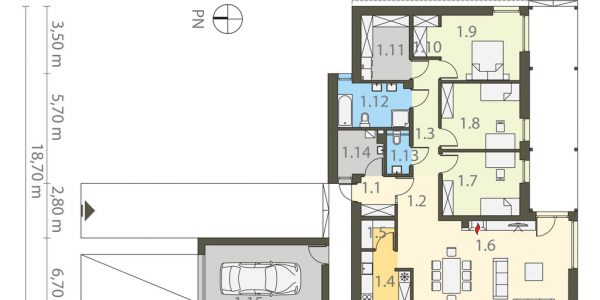 Plan casa parter cu 3 dormitoare