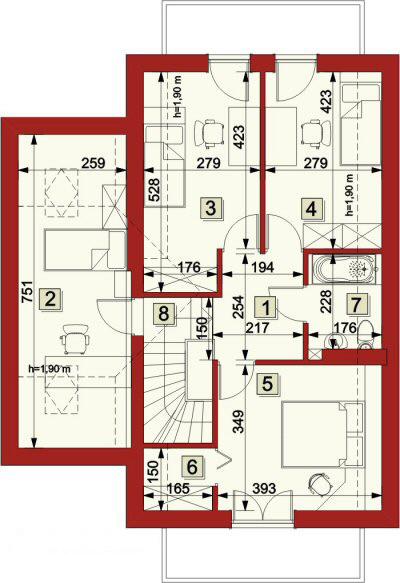 Plan etaj casa cu 4 camere si 2 balcoane
