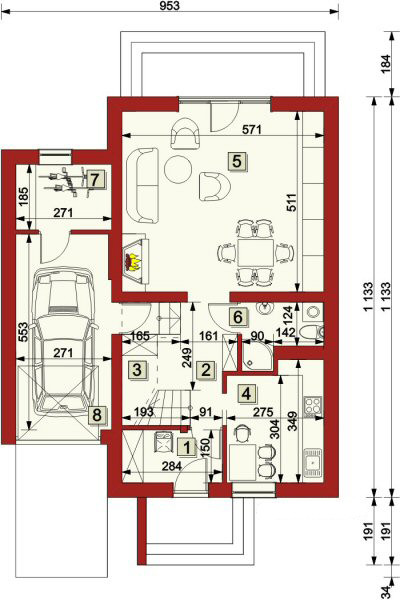 Plan parter casa cu 4 camere si 2 balcoane