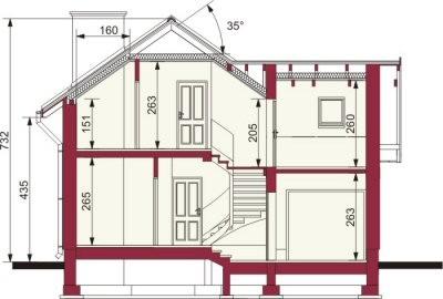 Plan vertical casa cu 4 camere si 2 balcoane