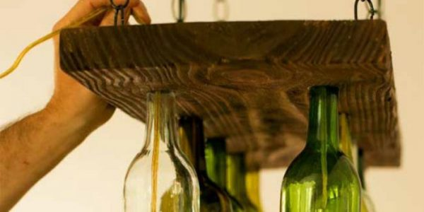 Sistem iluminare rustic din sticle