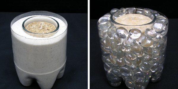 Suport lumanari din sticla de plastic