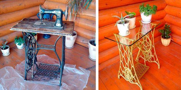 Transformare masina de cusut in masuta de cafea