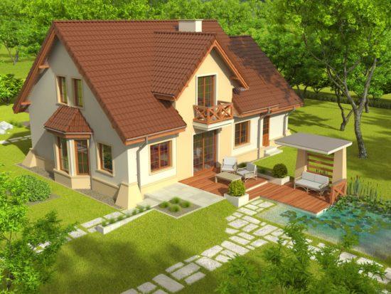 Casa cu balcon de lemn