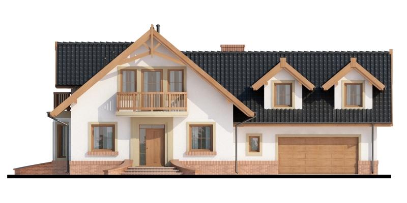 Elevatie casa cu mansarda si garaj