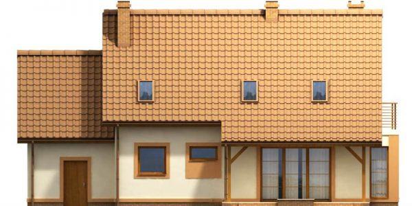 Elevatie spate casa cu 4 dormitoare