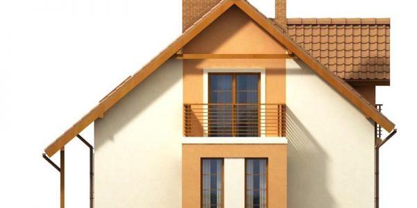 Elevatie stanga casa cu mansarda si garaj